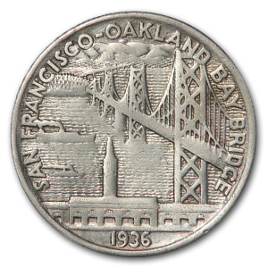 1936-S Bay Bridge Commemorative Half XF-45 (Cleaned)