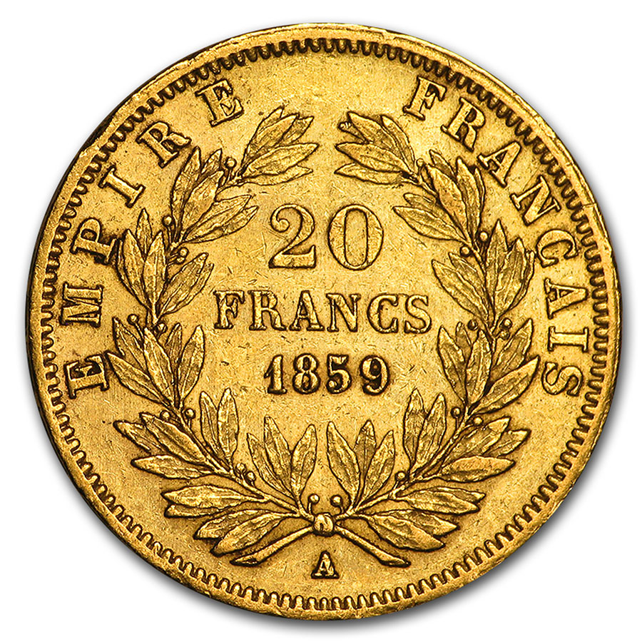 France Gold 20 Francs Napoleon III Avg Circ