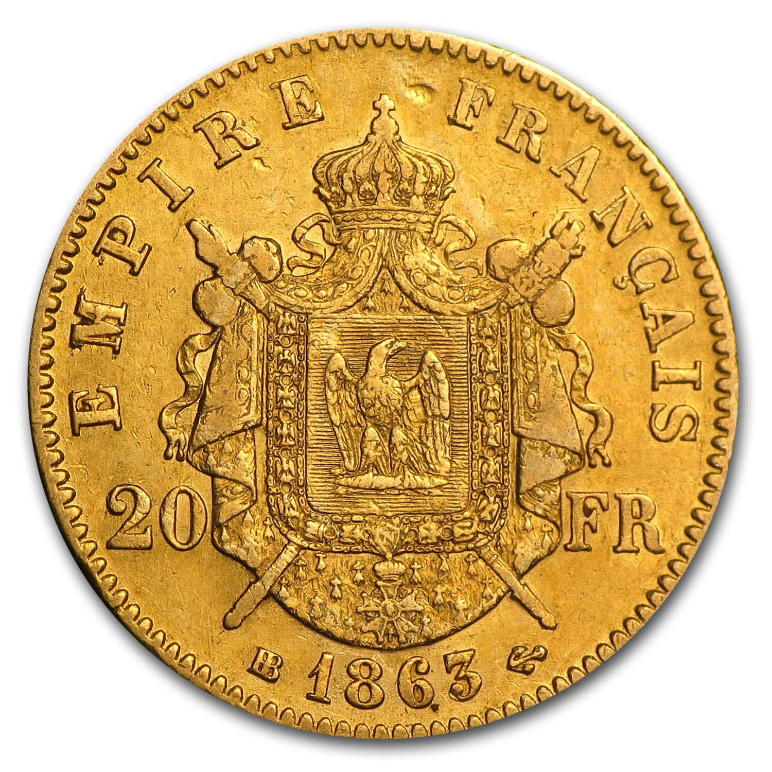 1853-1870 France Gold 20 Francs Napoleon III XF