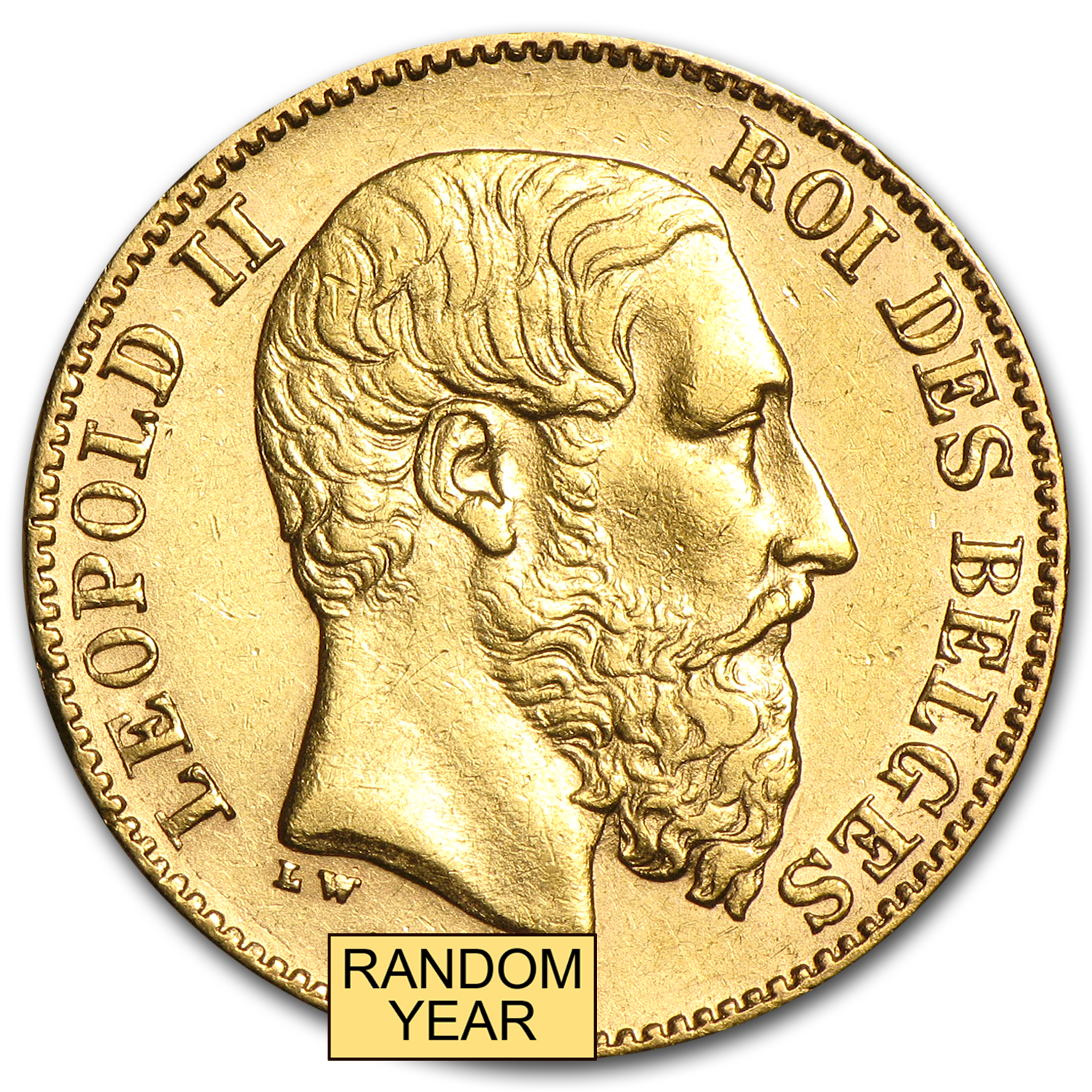 Belgium Gold 20 Francs Leopold II Average Circulated (Random)