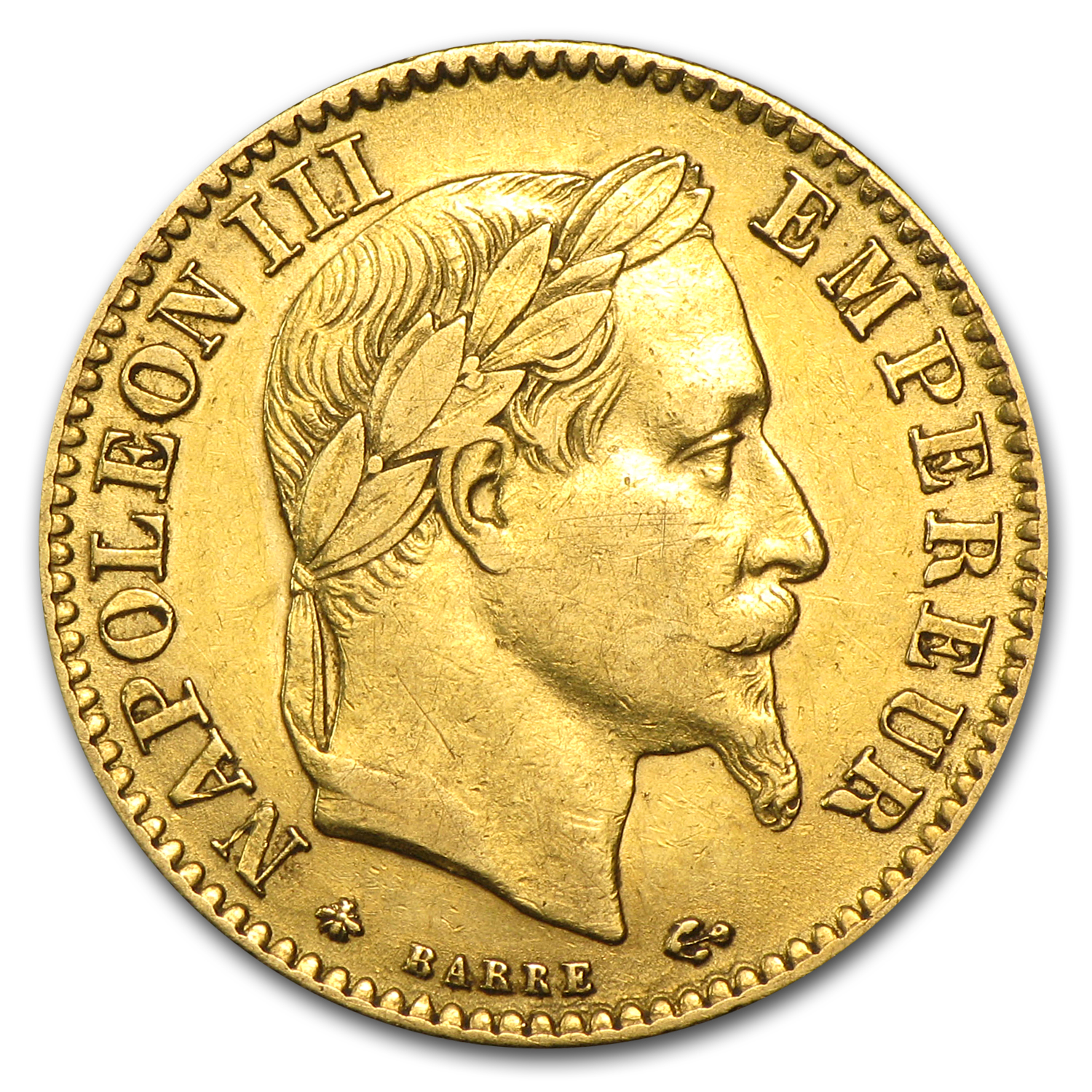 France Gold 10 Francs Napoleon III AU