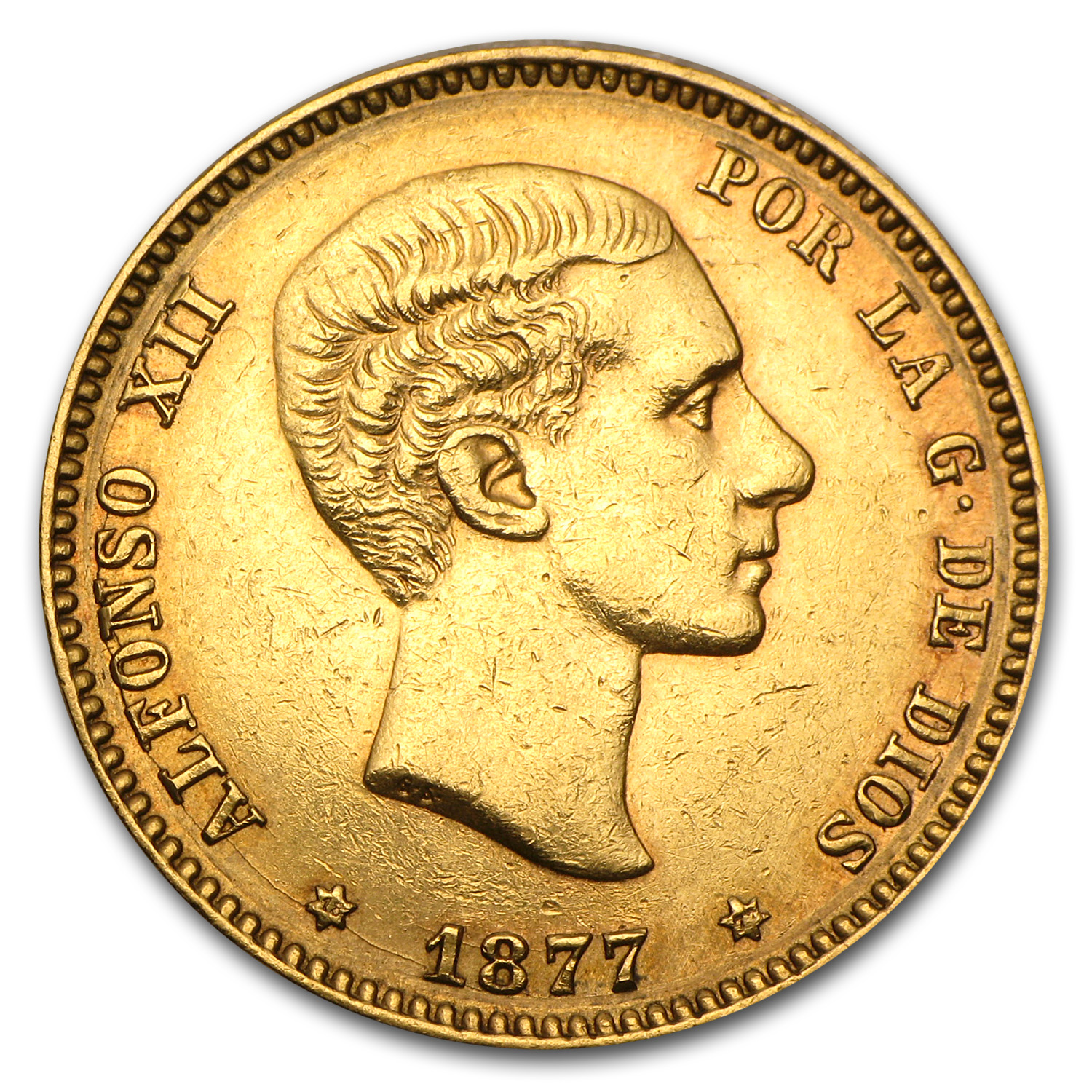 Spain Gold 25 Pesetas Alfonso XII XF or Better (Random Dates)