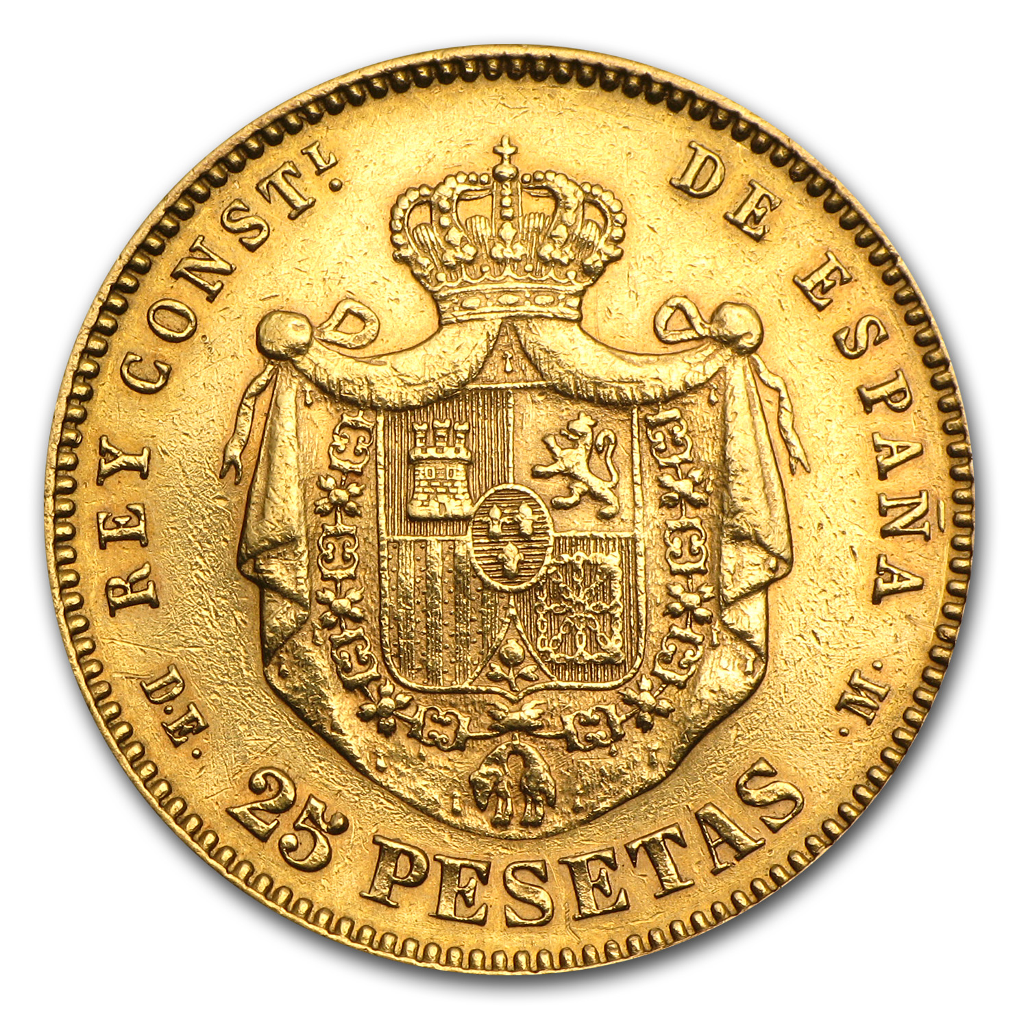 Spain 25 Pesetas Gold Alfonso XII Random Dates EF or Better