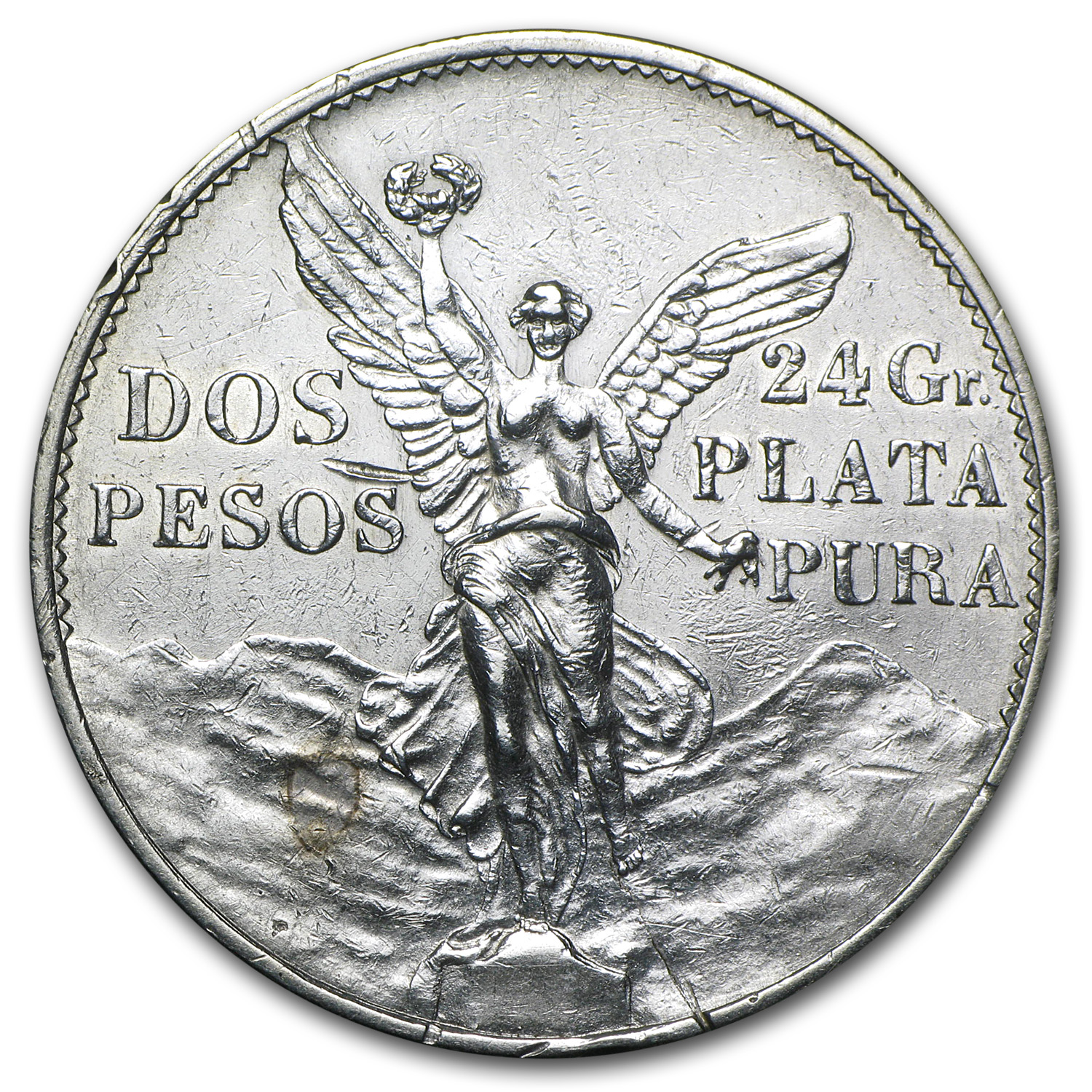 1921 Mexico Silver 2 Pesos Winged Victory AU Details