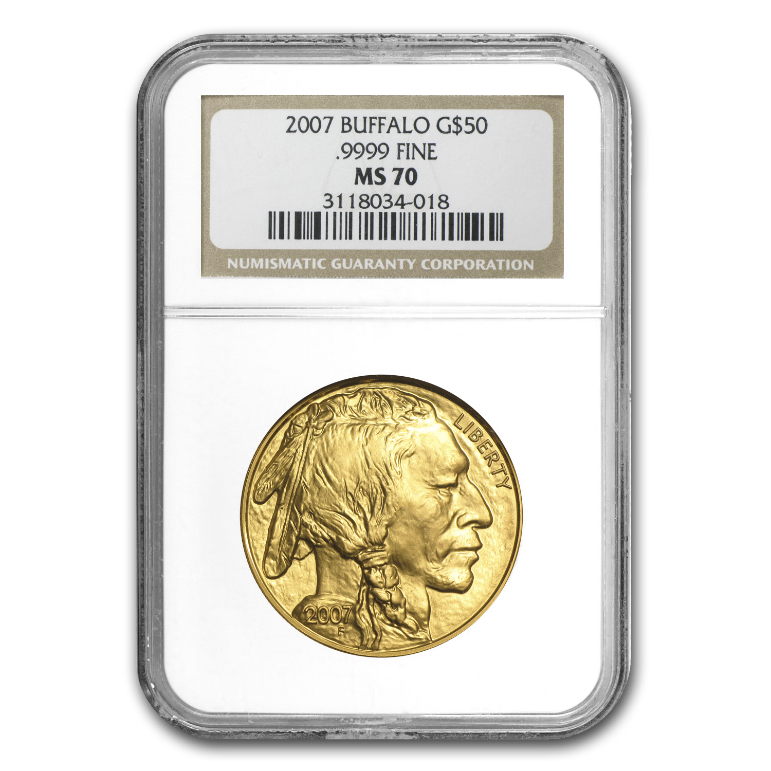 2007 1 oz Gold Buffalo MS-70 NGC