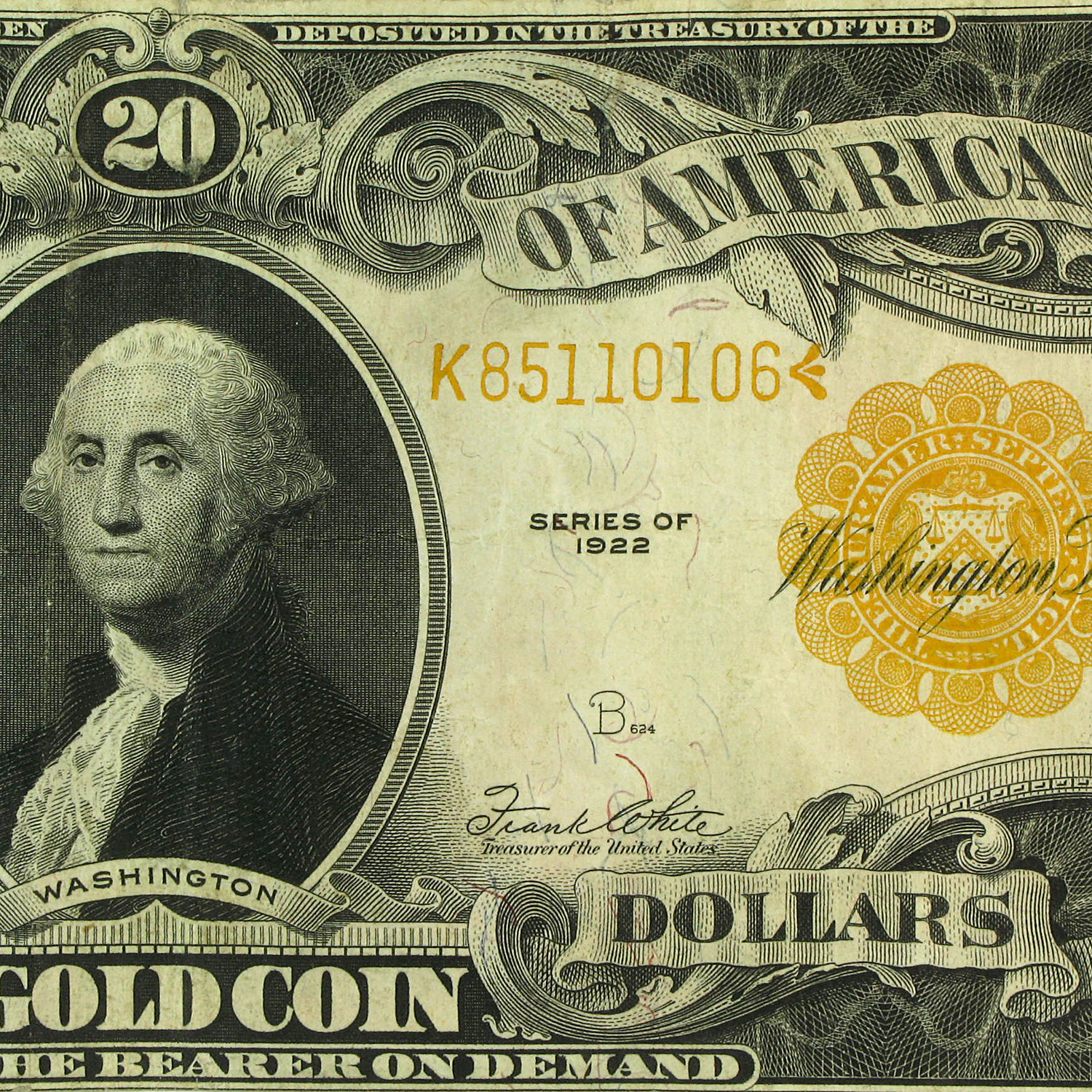1922 $20  Gold Certificate  - (Very Fine)