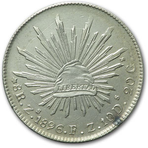 1896 Zs FZ Mexico Silver 8 Reales AU Details