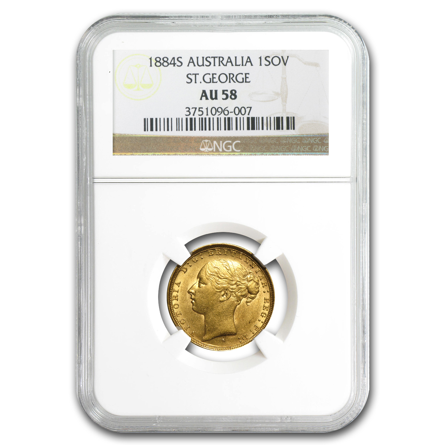 Australia 1880-1886 Gold Sovereign of Victoria AU-58 NGC