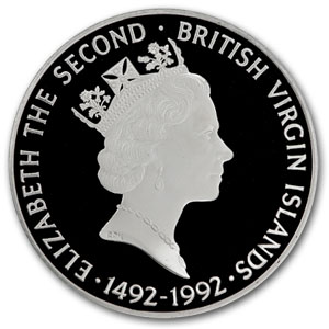 1992 British Virgin Islands Silver $25 Columbus Proof