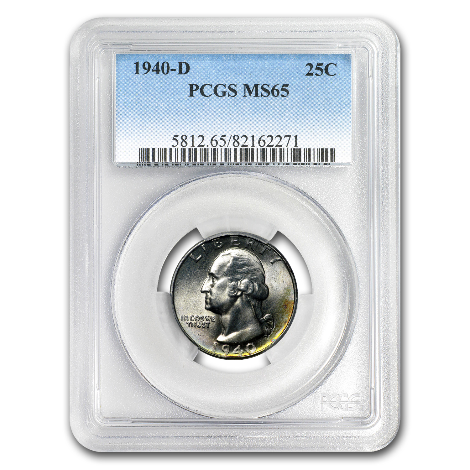 1940-D Washington Quarter MS-65 PCGS (Toned)