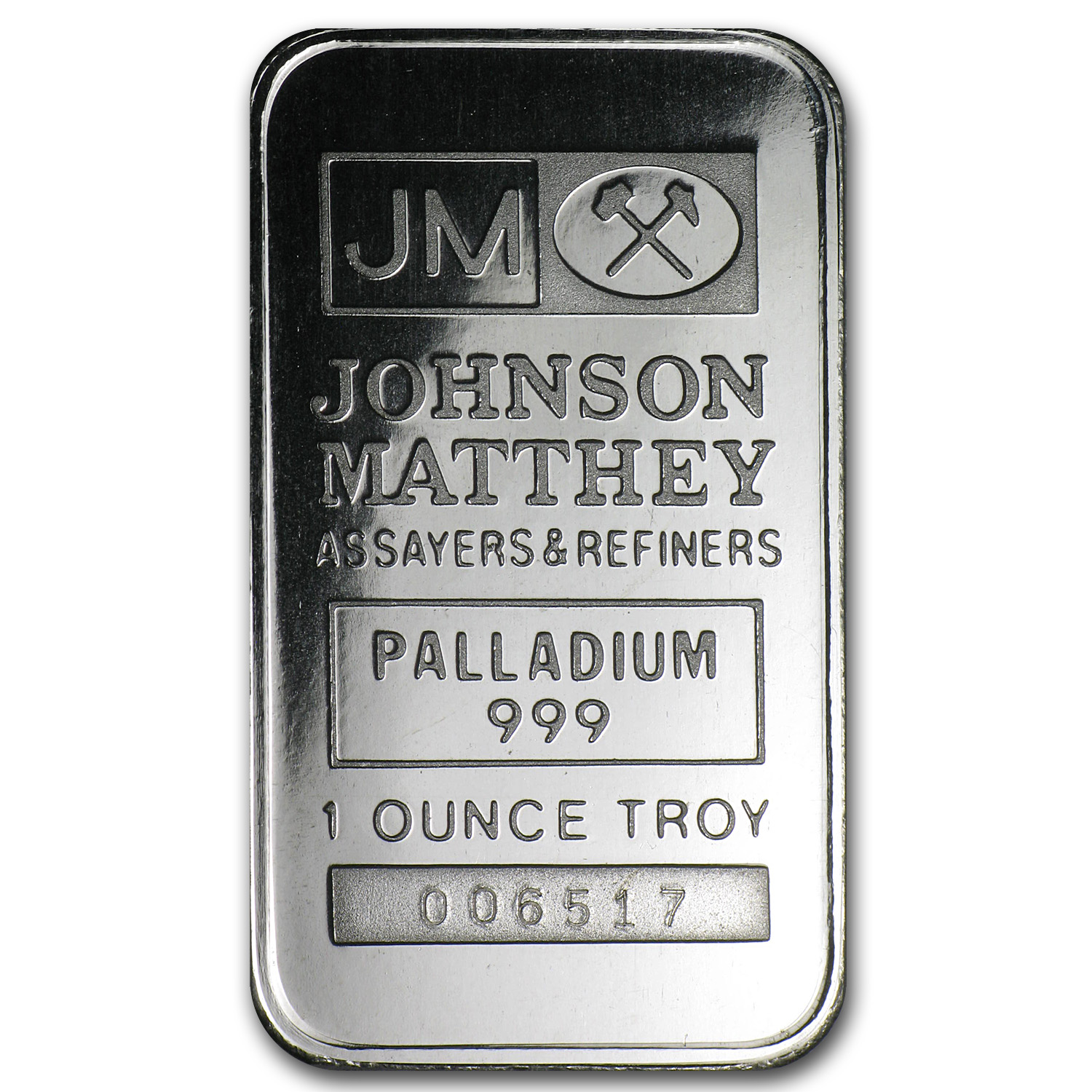 1 oz Palladium Bar - Johnson Matthey (No Assay)
