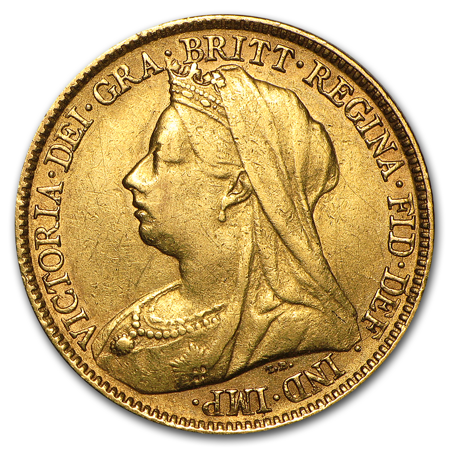 1893-1901 Great Britain Gold 1/2 Sov Victoria Veil Head Avg Circ