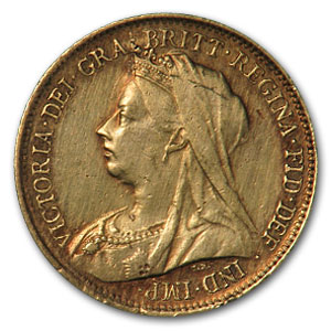 1893-1901 Great Britain Gold 1/2 Sov Victoria Veil Head (Scruffy)
