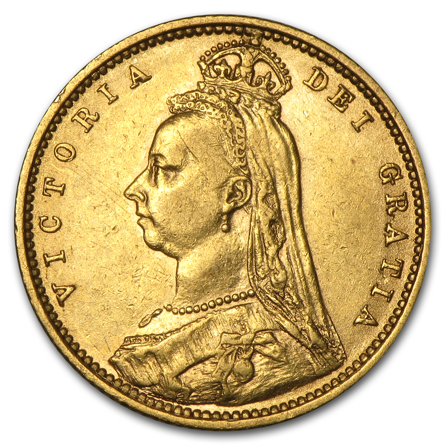 1887-1893 Great Britain Gold 1/2 Sov Victoria Jubilee Avg Circ