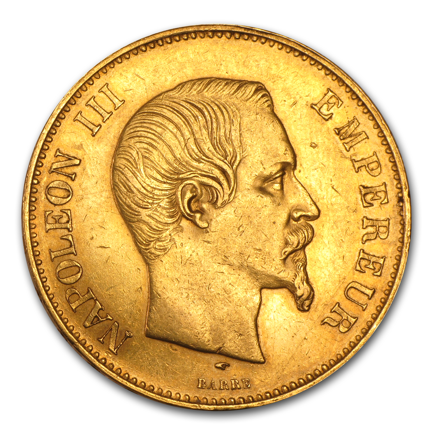 1855-1859 France Gold 100 Francs Napoleon III Avg Circ