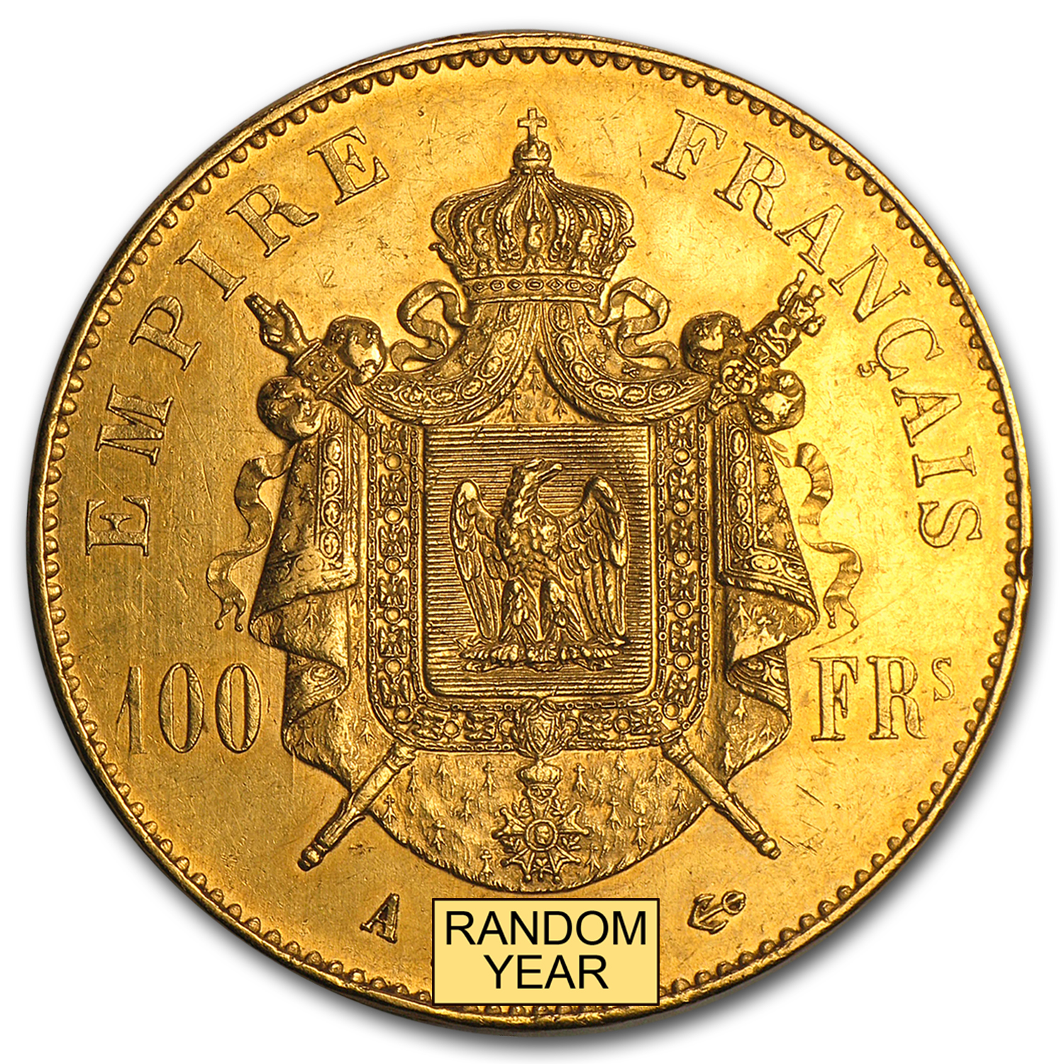 1855-1859 France Gold 100 Francs Napoleon III AU