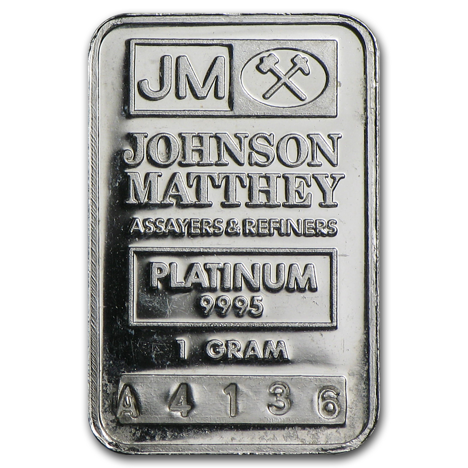 1 gram Johnson Matthey Platinum Bar (JM Logo) .9995+ Fine