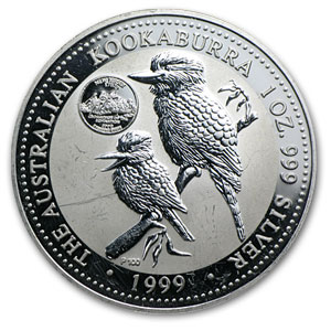 1999 1 oz Silver Kookaburra - Delaware Privy - Light Abrasions
