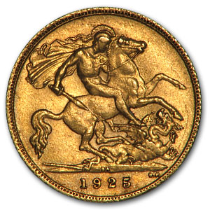 South African Gold 1/2 Sovereigns XF (George V)