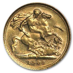 1902-1910 Australia Gold 1/2 Sovereign Edward VII XF