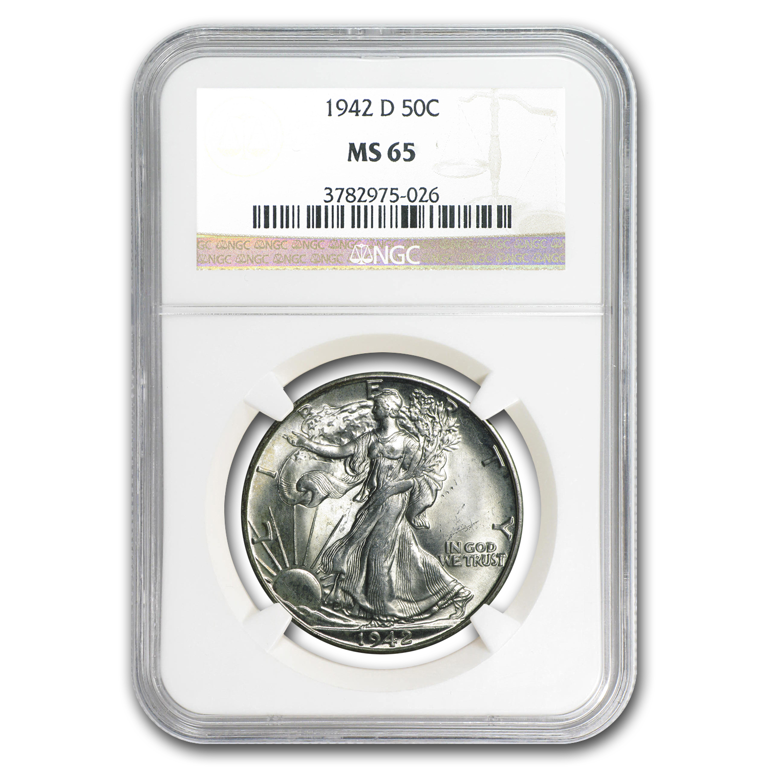 1942-D Walking Liberty Half Dollar MS-65 NGC