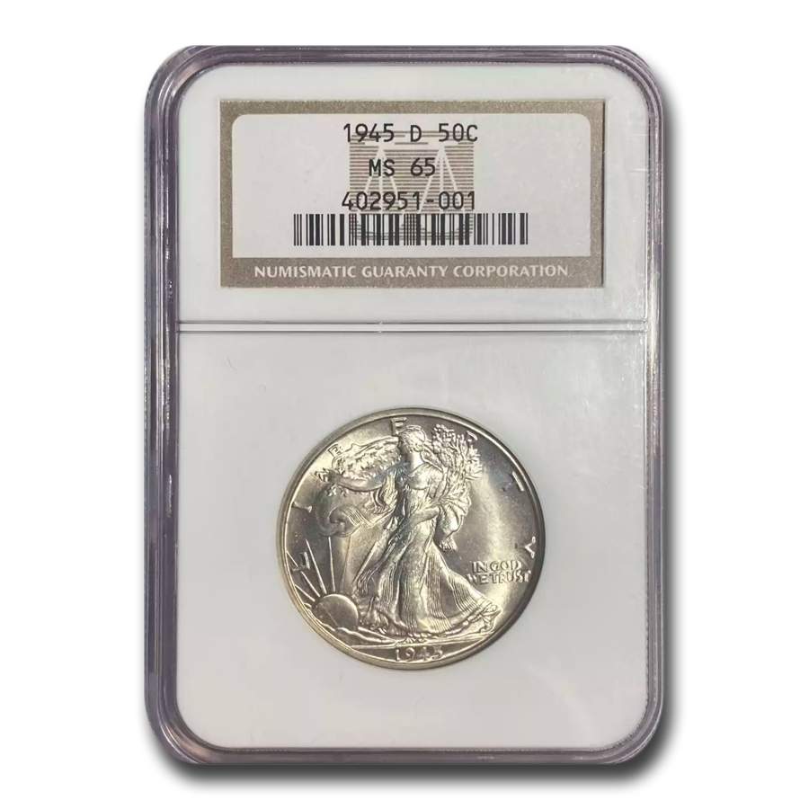 1945-D Walking Liberty Half Dollar MS-65 NGC