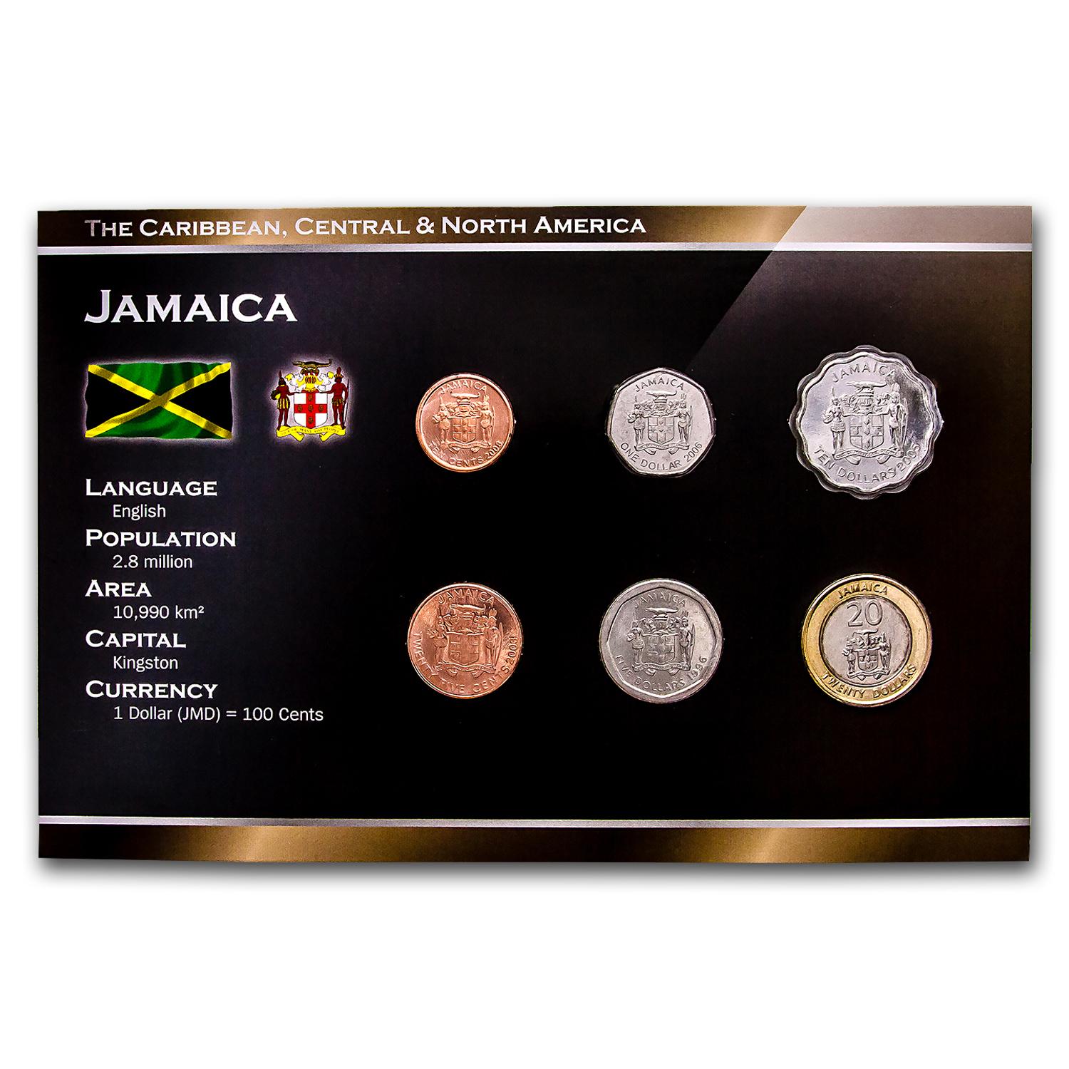 2001 Jamaica 10 Cent-$20 6-Coin Set BU