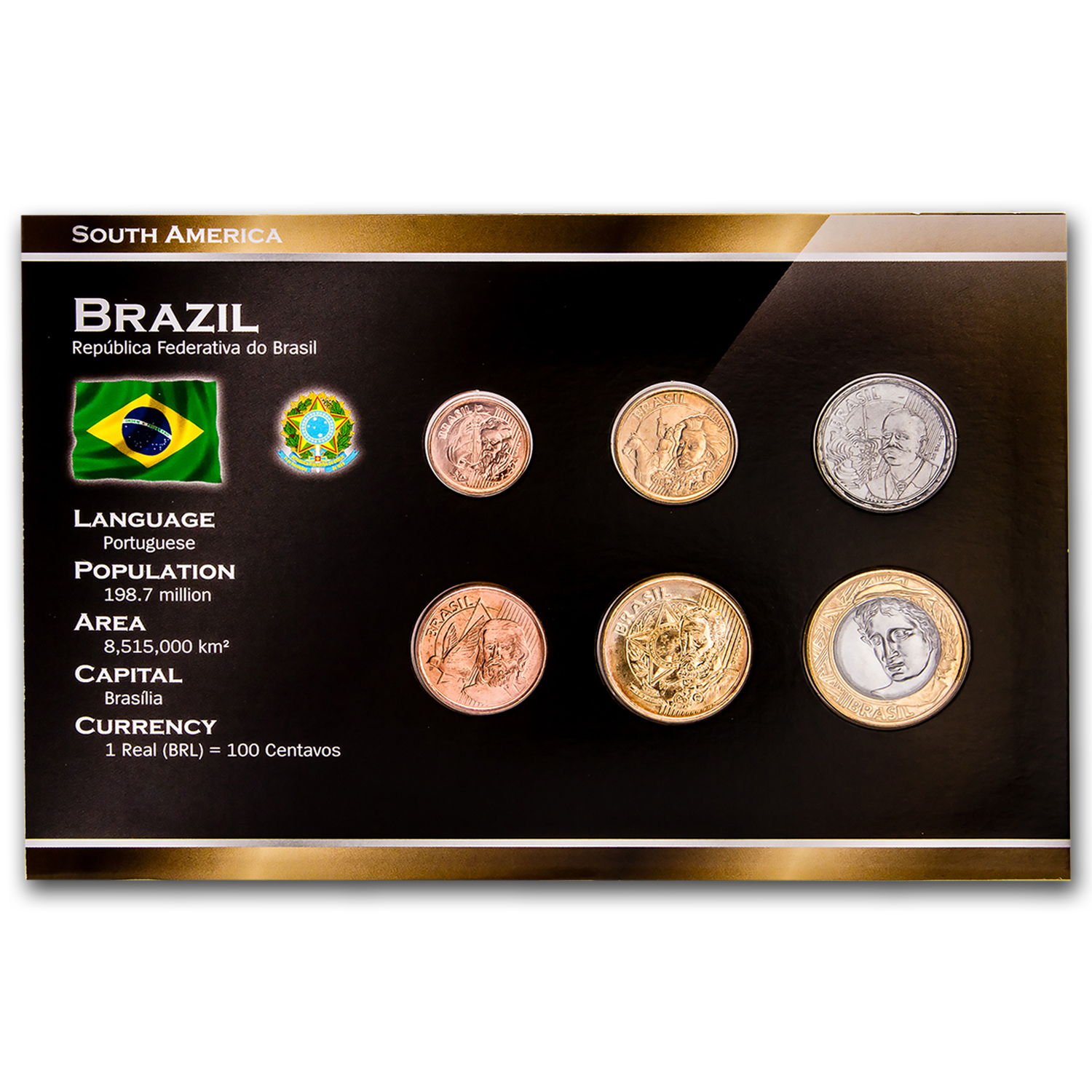 2004-2007 Brazil 1 Cruzerio-1 Real 6-Coin Set BU