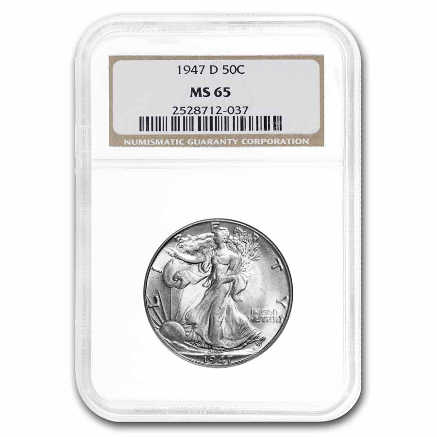 1947-D Walking Liberty Half Dollar MS-65 NGC