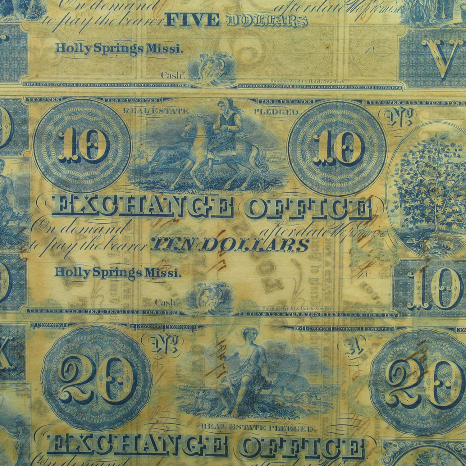 1862 UNCUT SHEET State of Louisiana $1-1-2-2-3-3 CR# 4-6-8