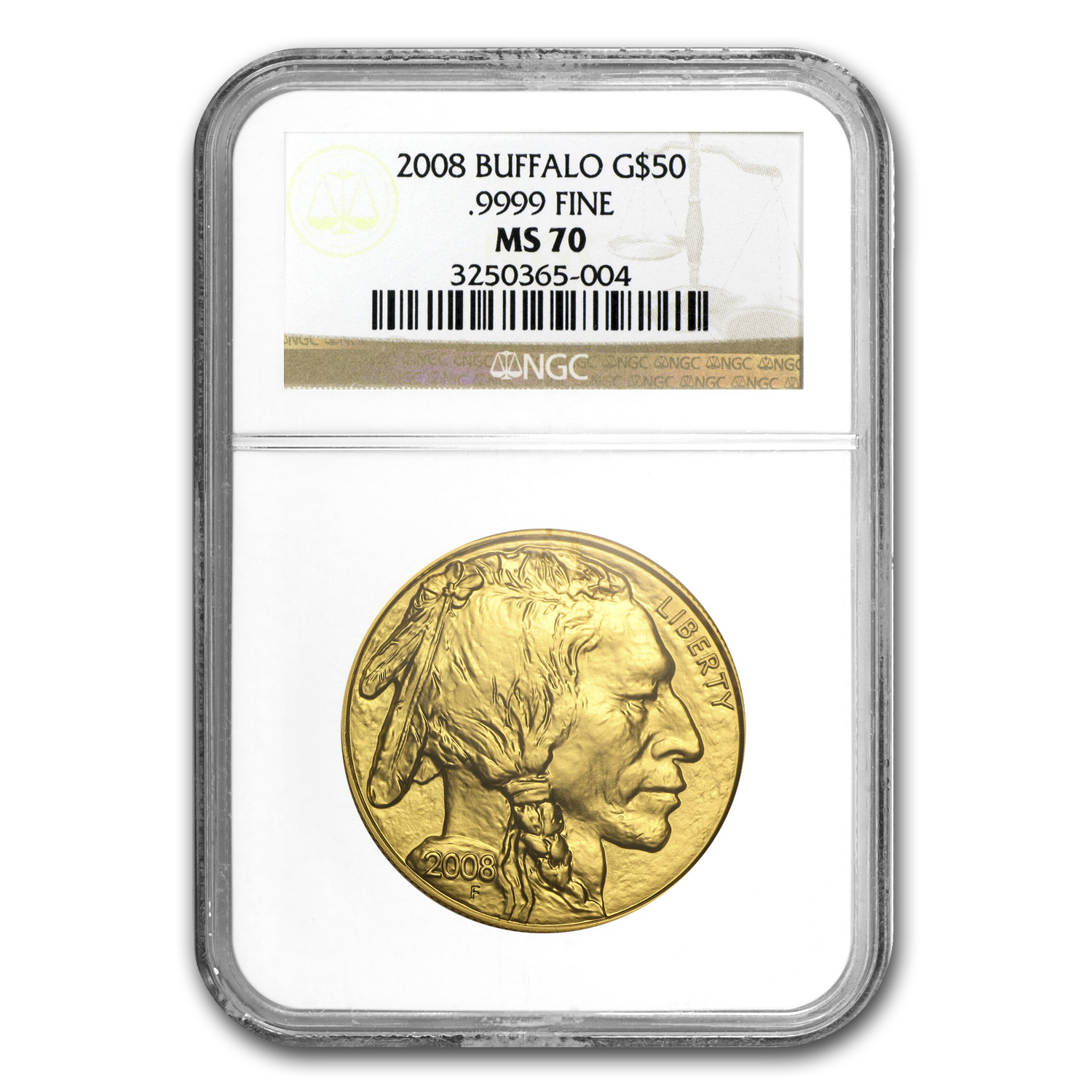2008 1 oz Gold Buffalo MS-70 NGC