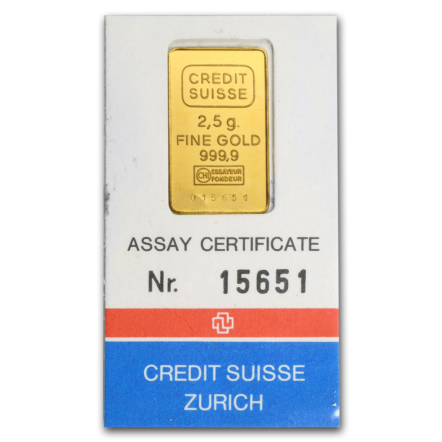 2.5 gram Gold Bar - Credit Suisse (In Assay)