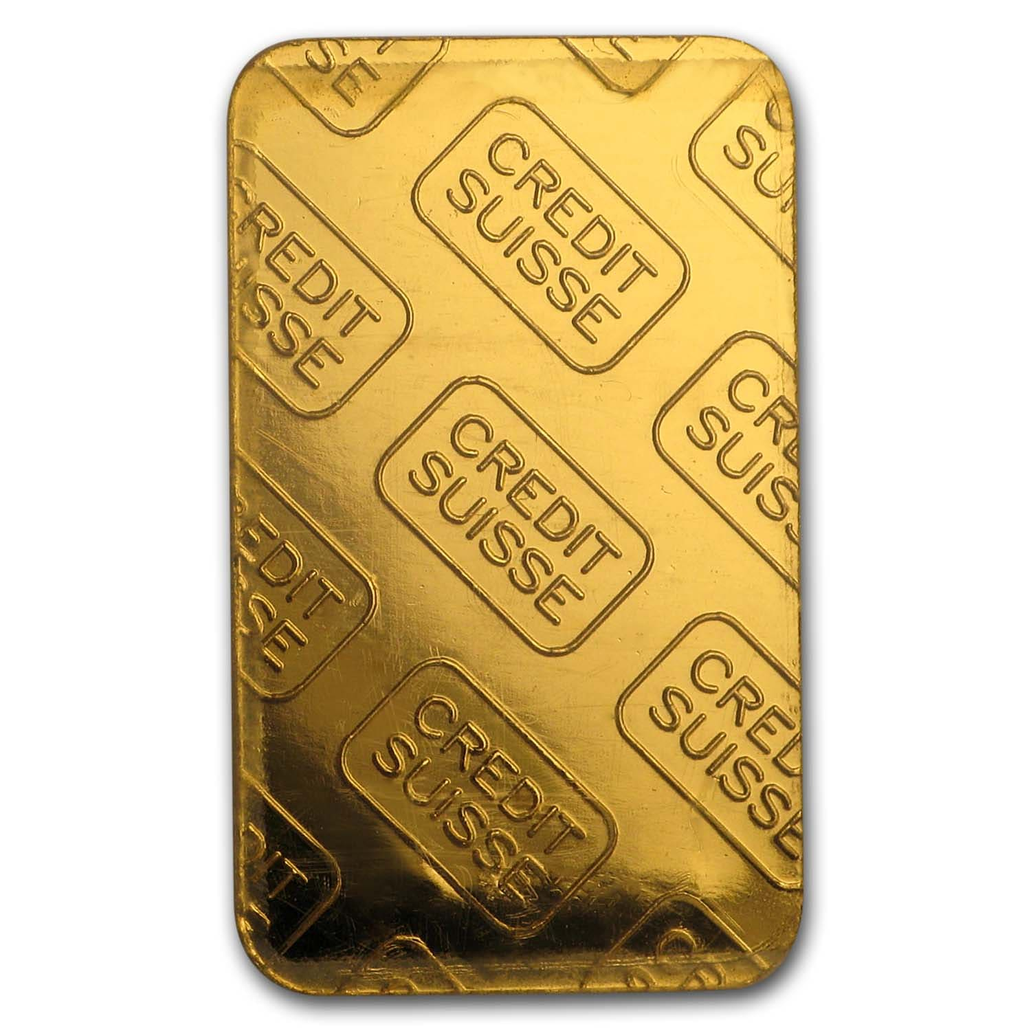 5 gram Gold Bar - Credit Suisse (Vintage Design, In Assay)