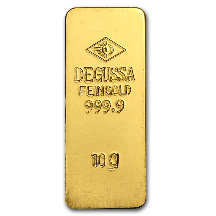 10 gram gold bar degussa stamped 10 gram gold bars rounds apmex. Black Bedroom Furniture Sets. Home Design Ideas