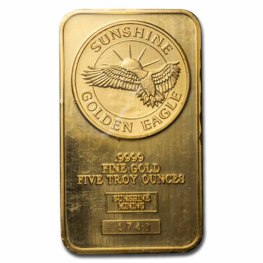 5 oz Gold Bar - Sunshine Minting/Mining (Golden Eagle)
