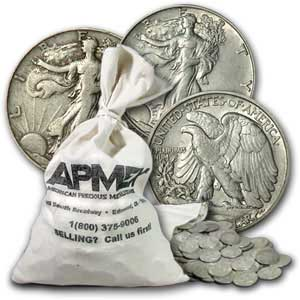 90% Silver Walking Liberty Halves $100 Face-Value Bag (1917-29)