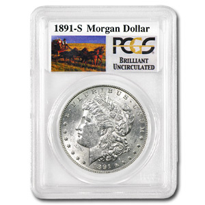 1891-S Brilliant Uncirculated PCGS Stage Coach Silver Dollars
