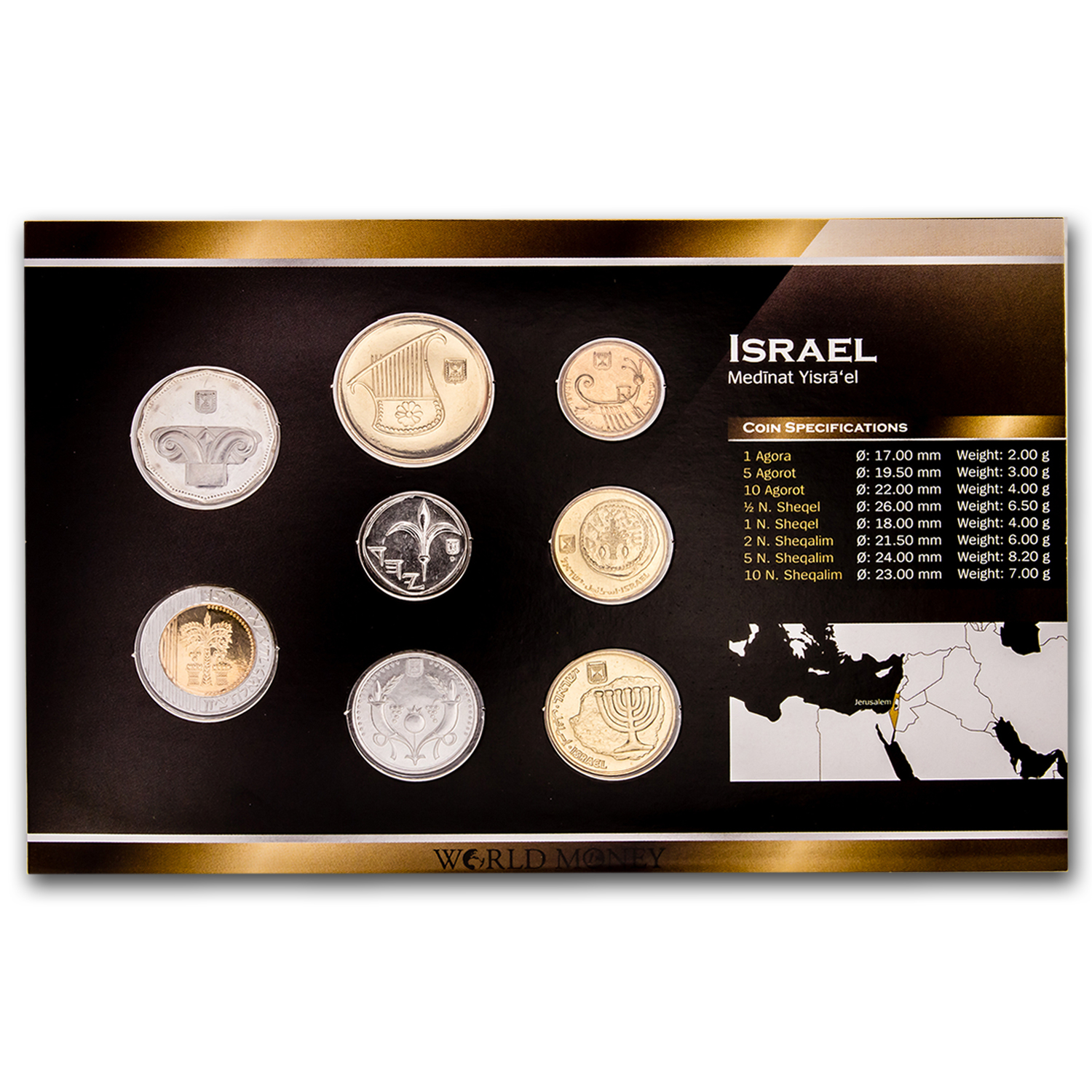 2005 Israel 1 Sheqal - 10 New Sheqalim 8-Coin Set BU