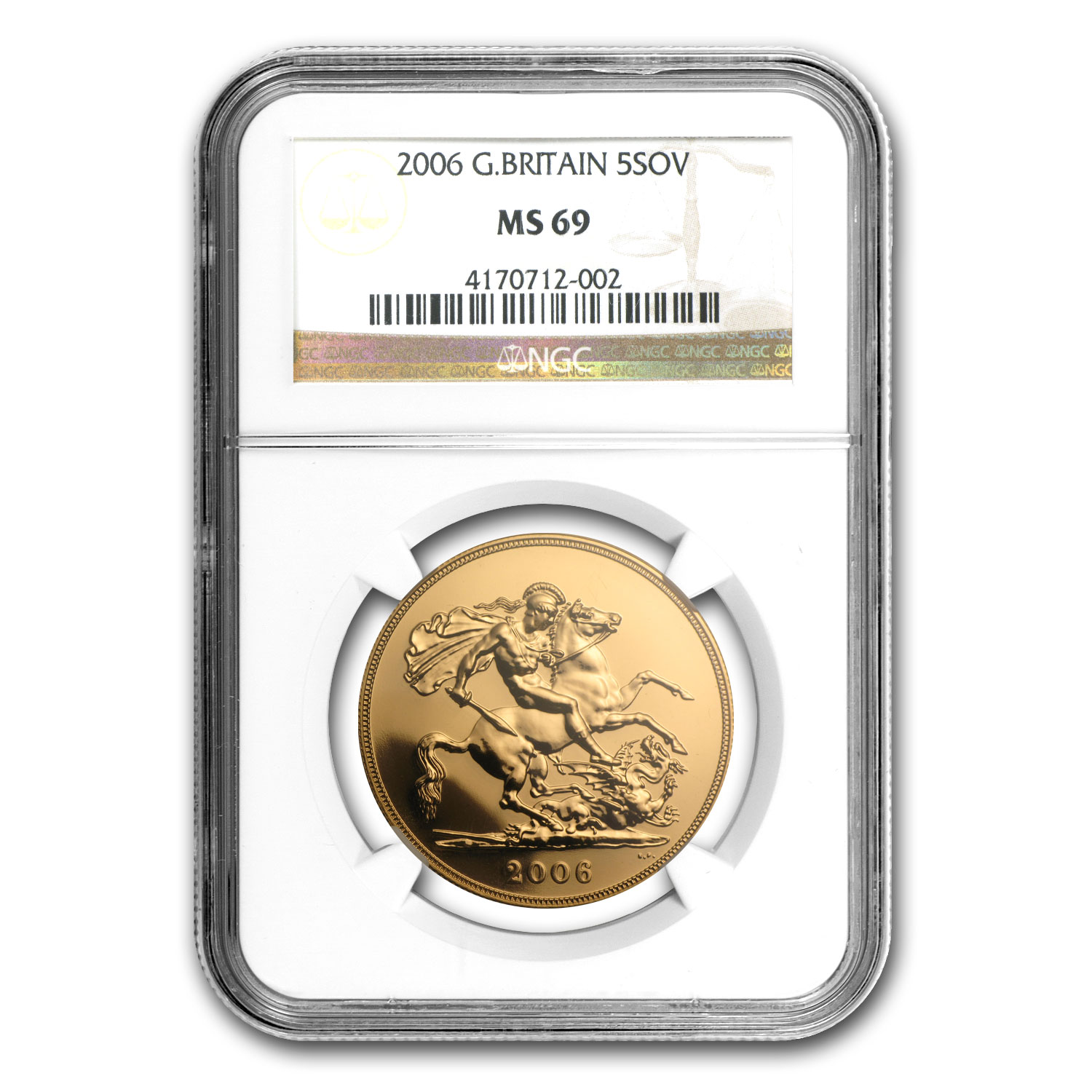 Great Britain Gold £5 Sov MS-69 NGC (Random Dates)