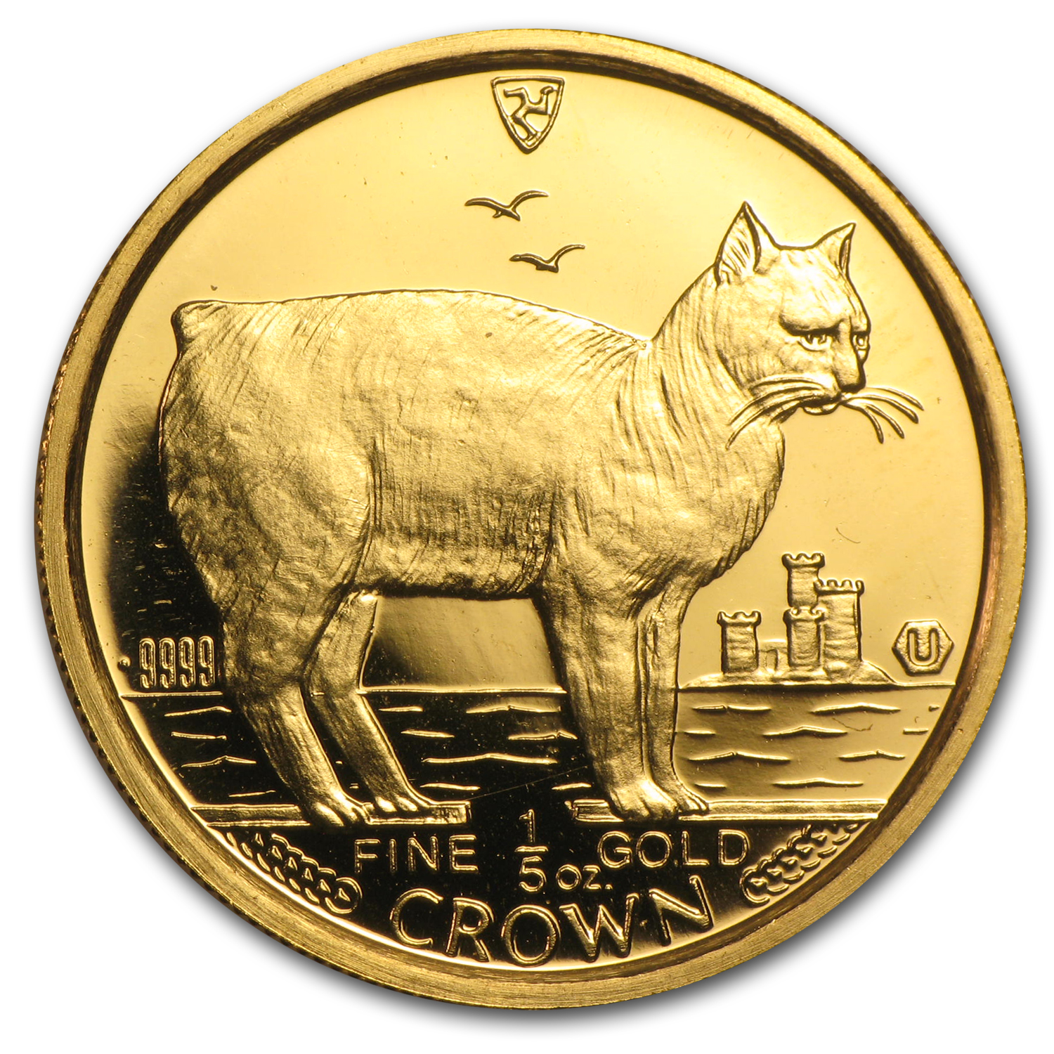 1988 Isle of Man 1/5 oz Gold Manx Cat BU