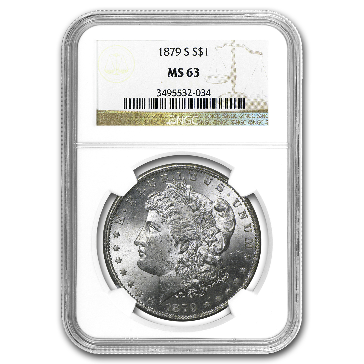 1879-S Morgan Dollar MS-63 NGC
