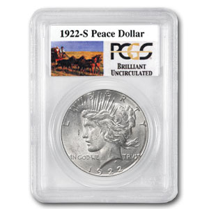 1922-S Brilliant Uncirculated PCGS Stage Coach Silver Dollars