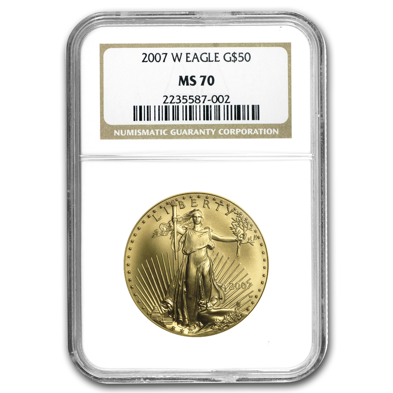 2007-W 1 oz Burnished Gold Eagle MS-70 NGC