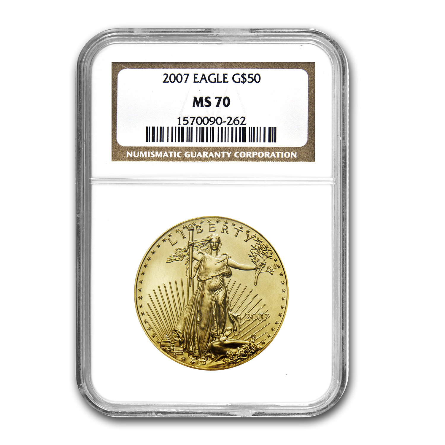 2007 1 oz Gold American Eagle MS-70 NGC