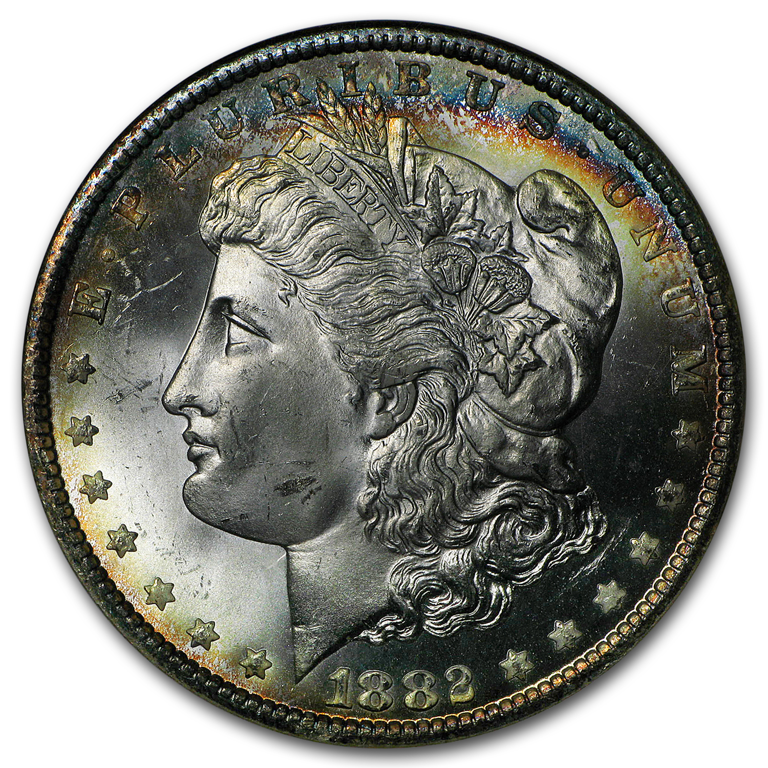 1882-CC Morgan Dollar MS-65 NGC (Blue Obv Toning)