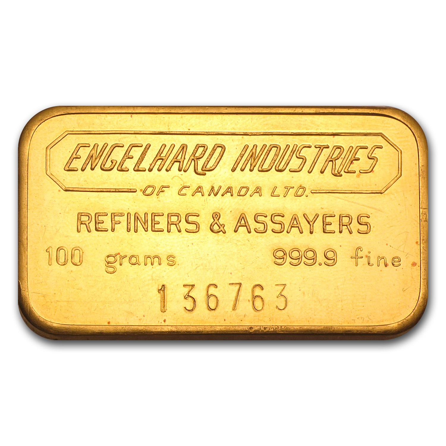 100 gram Gold Bars - Engelhard Industries of Canada