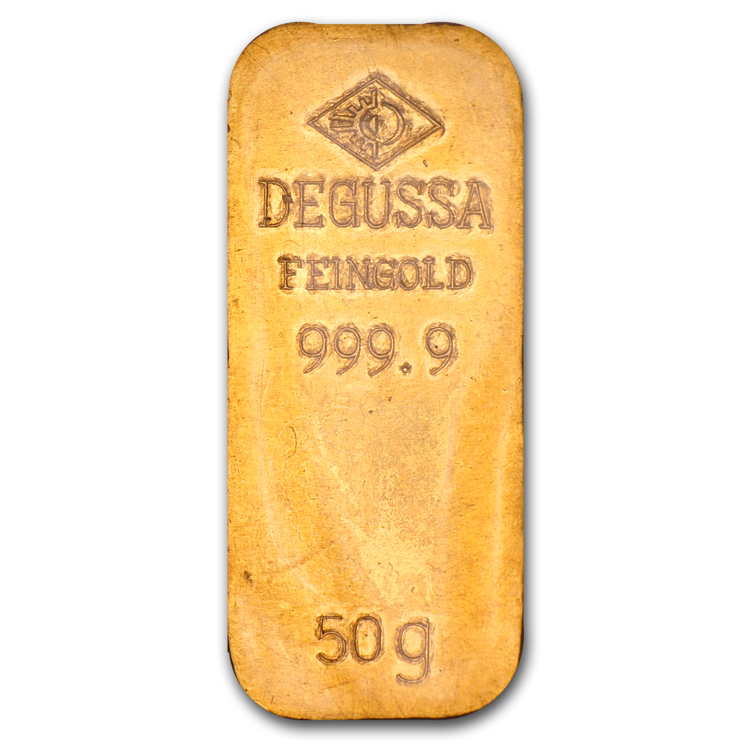 50 gram Gold Bar - Degussa (Stamped)