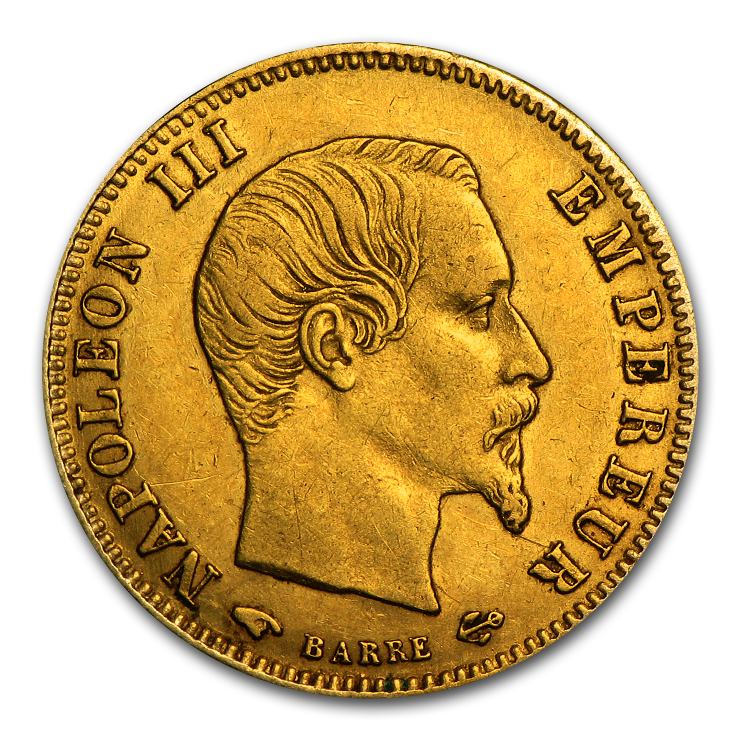 1854-1860 France Gold 5 Francs Napoleon III Avg Circ