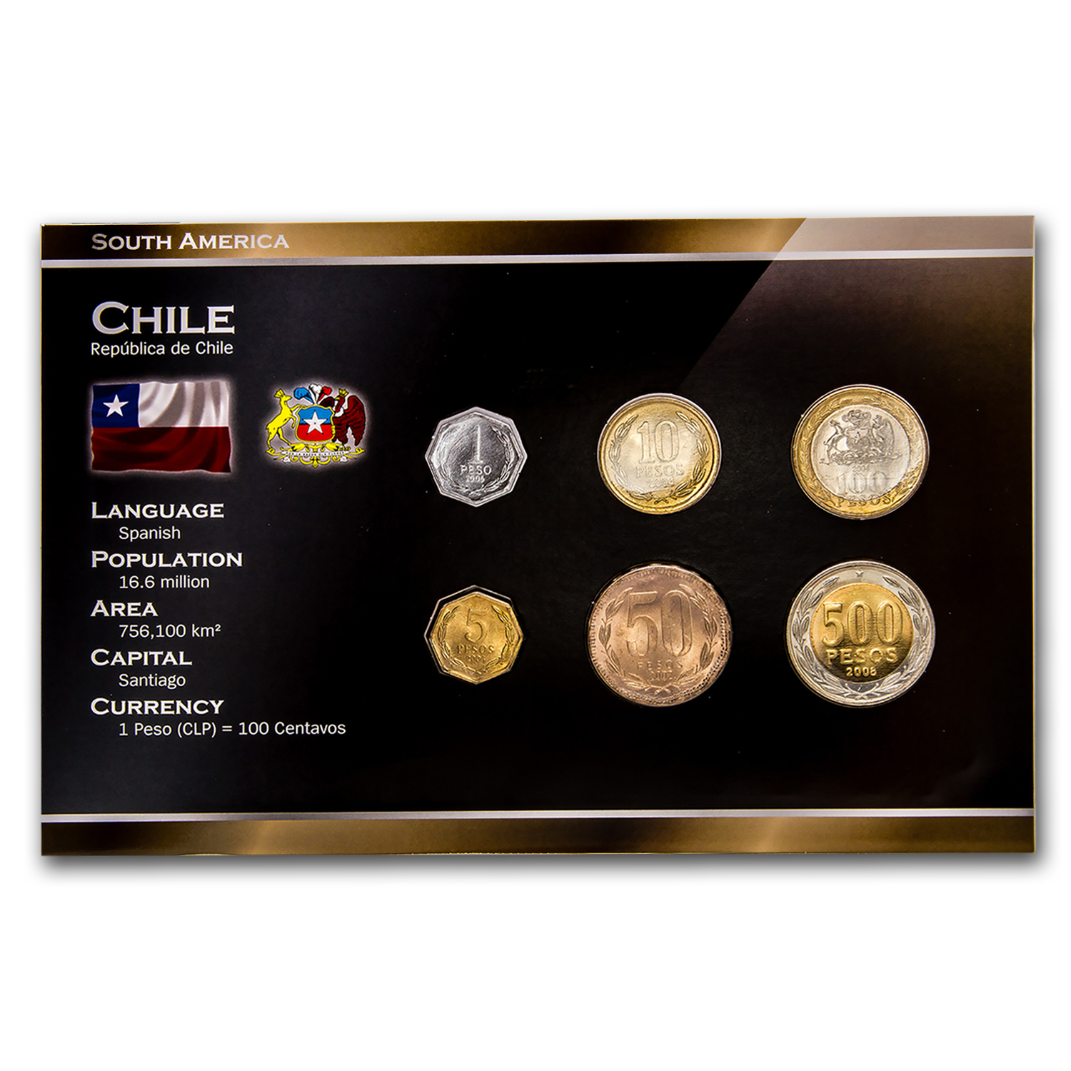 2000 Chile 1-500 Pesos 6-Coin Set BU