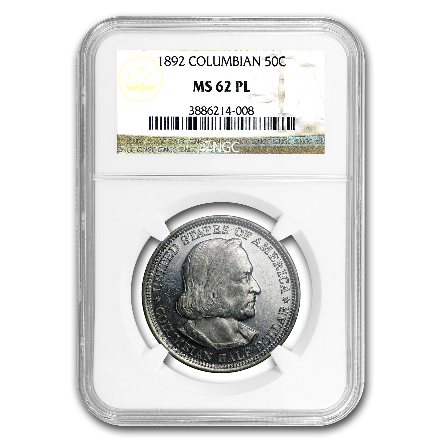 1892 Columbian Expo Half Dollar MS-62 PL NGC